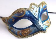 Blue and Gold Fabiola Mask